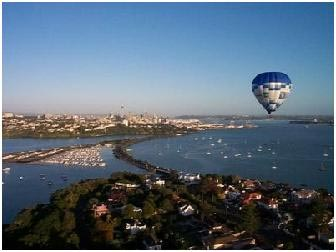Hot Air Ballooning over Auckland City New Zealand